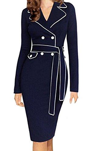 Littler Store Women's Fashion Suit V Collar Belt Work To Work Pencil Dress 1Medium (Quirky Fancy Dress Ideas)