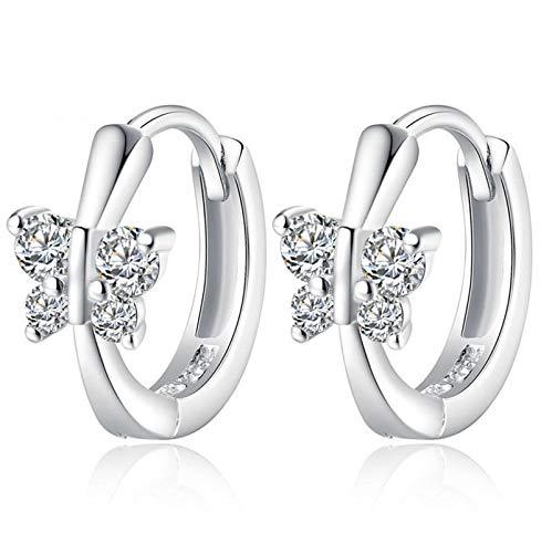 (Fashion Womens Crystal 925 Sterling Silver Ear Stud Hoop Earrings Jewelry New)