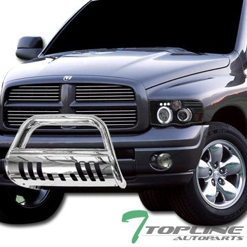 Topline Autopart Stainless Steel Chrome HD Heavyduty Bull Bar Brush Push Front Bumper Grill Grille Guard w/ Skin Plate V2 06-08 Dodge Ram 1500
