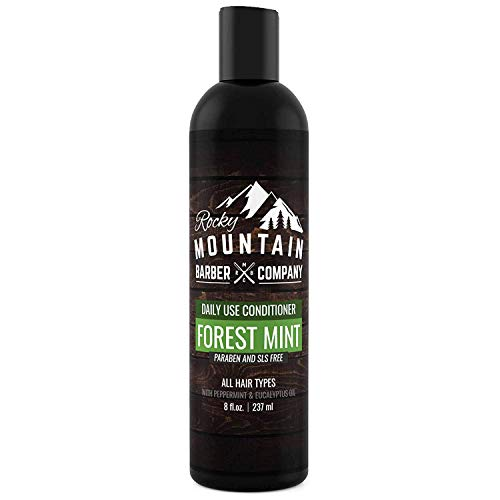 Mens Conditioner - Tea Tree Oil, Peppermint & Eucalyptus for All Hair Types - Hydrates Dry Itchy Scalp - Paraben, SLS & DEA Free - 8oz - by Rocky Mountain Barber Company