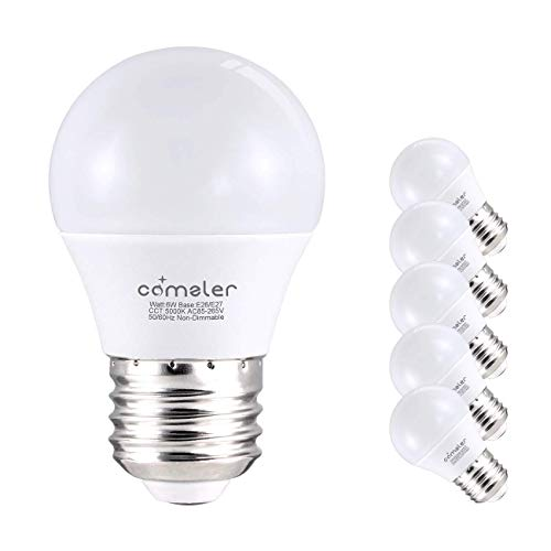 (Comzler 6W A15 LED Bulb Daylight 60 Watt Equivalent, E26 Medium Screw Base Small Light Bulb Cool White 5000K, Home Lighting Decorative Ceiling Fan Light Bulbs Non-Dimmable(Pack of 6))