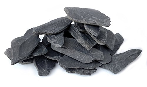 Natural Slate Stone 3 to 5 inch Rocks for Miniature and Fairy Garden, Aquascaping Aquariums, Reptile enclosures & Model Railroad. (5lbs) (3 Slate)
