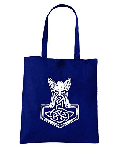 T-Shirtshock - Bolsa para la compra T1060 thor hammer religioni celtic Azul Marino