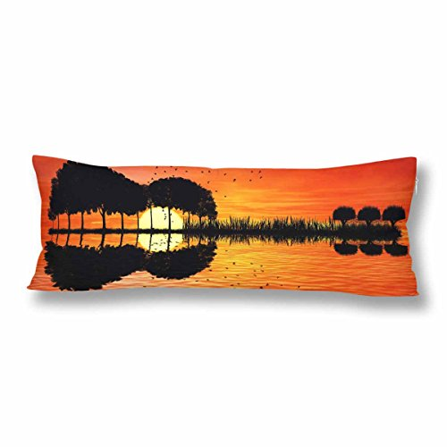 InterestPrint Music Note Tree Guitar Water Body Pillow Covers Pillowcase with Zipper 21x60 Twin Sides, Island Sunset Rectangle Body Pillow Case Protector for Home Couch Sofa Bedding Decorative -