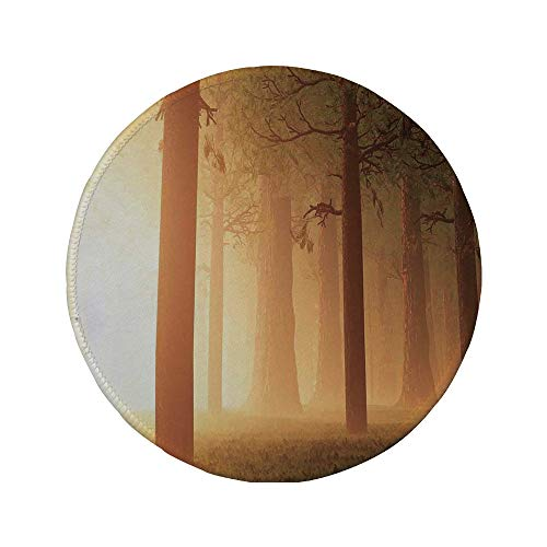 (Non-Slip Rubber Round Mouse Pad,Magical,Foggy Mist Hazy Jungle with Sun Beams and Rays Spiritual Woodland Spiritual Nature Design,Tan,11.8