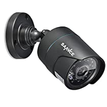 SANNCE 800TVL Bullet Security Camera with IP66 weatherproof housings, 24PCS Infrared LEDs, 100ft Night Vision, Black