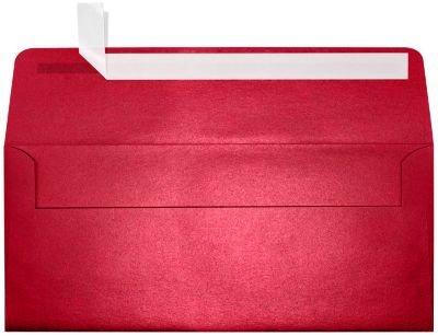 #10 Square Flap Envelopes w/Peel & Press (4 1/8 x 9 1/2) - Jupiter Red Metallic (50 Qty.) | Business | For Checks, Invoices, Letters & Mailings | Printable | (10 Envelopes Square)