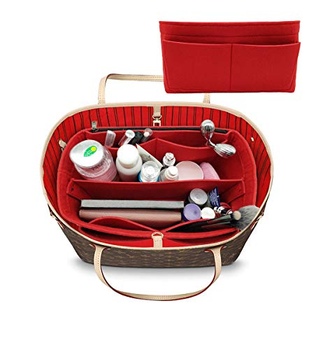 LEXSION Felt Purse Insert Handbag Organizer Bag in Bag Organizer with Handles Holder 8021 A-Red XL