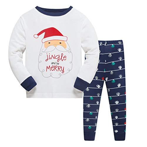 ZFBOZS 2T Xmas Pajamas for Boys Girls Santa 100% Cotton Kids Sleepwear Long Sleeve PJS Set -