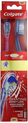 Colgate 360 degrés Surround Sonic Brosse à dents électrique, souple, 2 comte