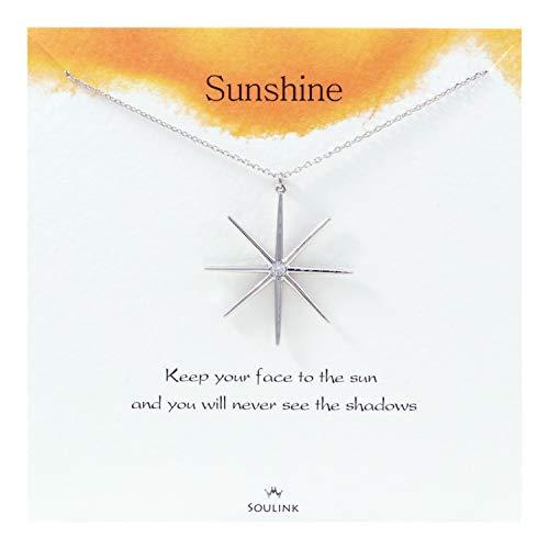 Soulink Sparkling Big Sun Sunshine Necklace Jewely ()