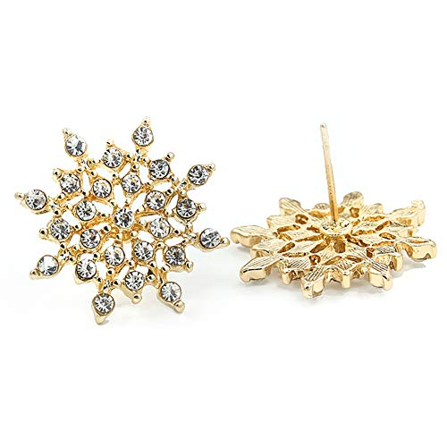 MIXIA Shiny Sliver Tone Snowflake Stud Earrings for Women Clear Crystal Star Wedding Drop Earings Necklace Jewelry Set (Earring ()