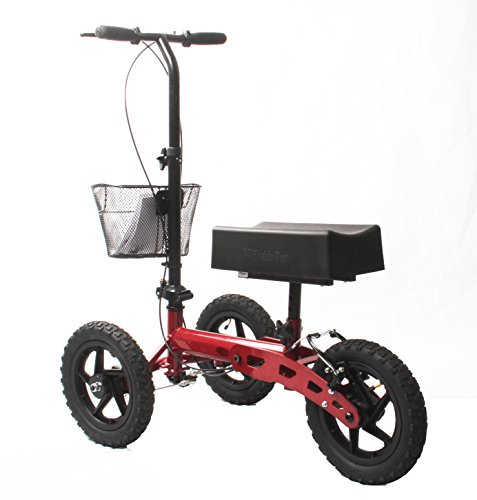 Health Port All-Road Knee Walker | Steerable Medical Scooter for Adults | Foldable & Lightweight | Smooth Pneumatic 12'' Wheels & Locking Parking Brakes | Adjustable Knee Pad & Handlebar | Red by Health Port (Image #2)