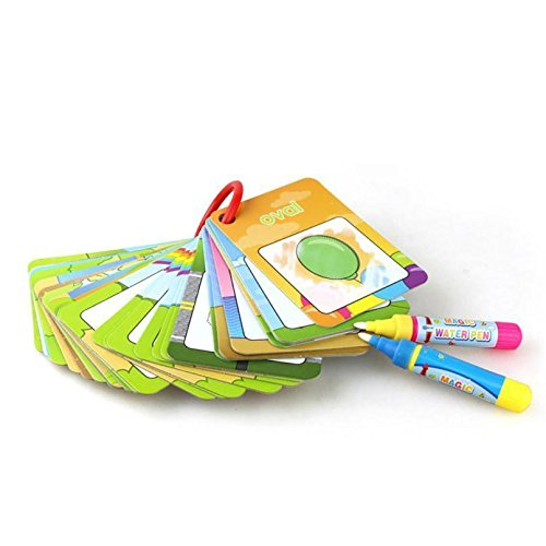 mieeter Aqua Doodle Flash Card Maths Educational Toys Games Numbers, First Words, Coloring & Fruit Cognitive Water Drawing Cards with 2 Magic Pens