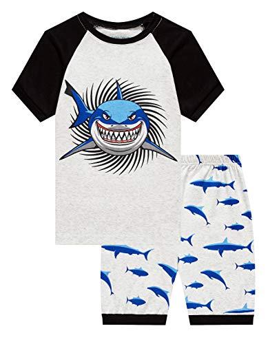 (Family Feeling Big Boys Shark Pajamas Short Sets 100% Cotton Kid Summer Pjs 8)