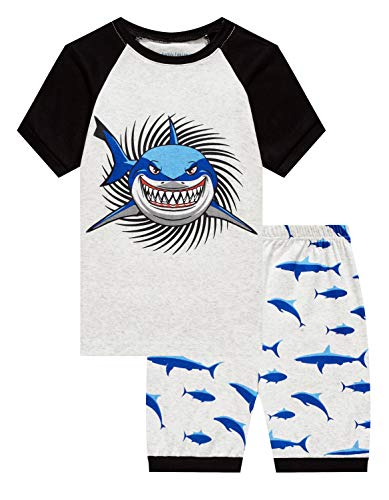 Family Feeling Little Boys Shark Pajamas Short Sets 100% Cotton Kid Summer Pjs 6]()