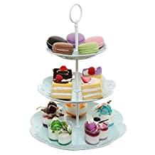 Pastel Turquoise Ceramic 3 Tier Dessert Stand Server / Cupcake Tower / Appetizer Serving Tray - MyGift by MyGift