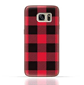 Samsung Galaxy S7 TPU Silicone Case with Red and Black Plaid Fabric Design