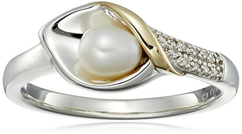 Sterling Silver and 14k Yellow Gold Freshwater Cultured Pearl and Diamond Calla Lilly Ring, Size 7 (Ring Pearl Gold 14k Yellow)