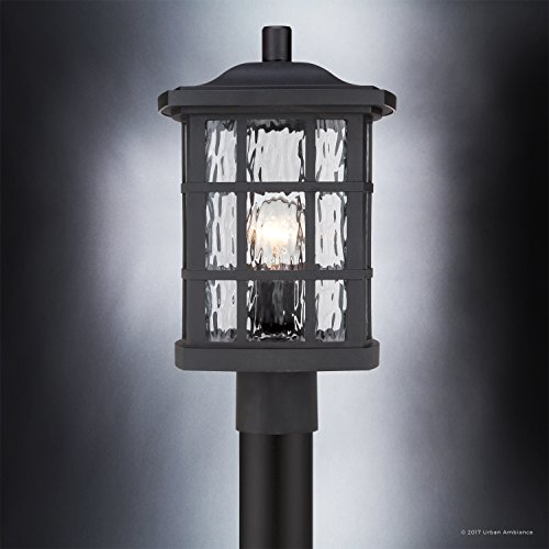 Luxury Craftsman Outdoor Post Light, Medium Size: 16.5''H x 9.5''W, with Tudor Style Elements, Highly-Detailed Design, High-End Black Silk Finish and Water Glass, UQL1246 by Urban Ambiance by Urban Ambiance (Image #3)