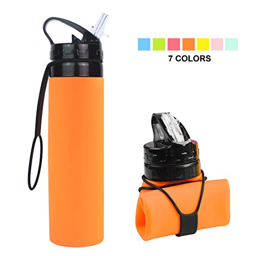 Collapsible Water Bottle, YUANFENG 20oz BPA-Free Leak-Proof Lightweight Silicone Sports Travel Camping Water Bottles (Orange)