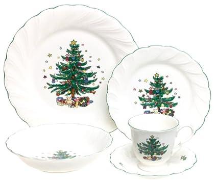 Amazon.com | Nikko Ceramics Happy Holidays 5-Piece Dinnerware Set ...