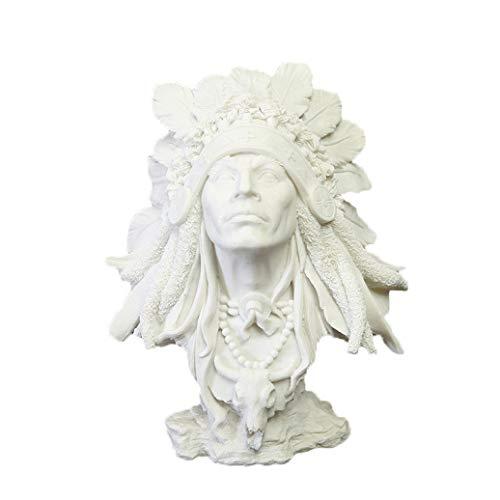 - JDSHSO Native American Sculpture Indians Figure Bust Sandstone Statue Figurines Resin Craftwork Modern Home Decor