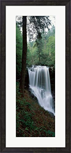 Dry Falls, Nantahala National Forest, Macon County, North Carolina by Panoramic Images Framed Art Print Wall Picture, Espresso Brown Frame, 16 x 34 inches -