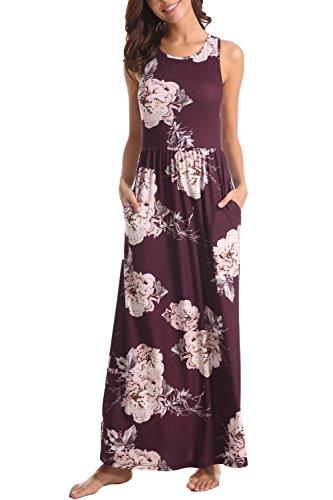 Plum Sleeveless Dress - Zattcas Maxi Dresses for Women,Womens Crew Neck Sleeveless Summer Floral Maxi Dress with Pockets (XX-Large, Dark Plum)
