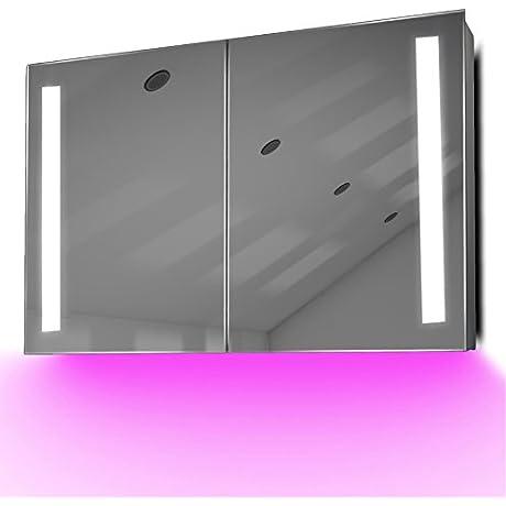 Bathroom Bluetooth Mirror Cabinet With LED Under Lighting Demister Sensor K372paud