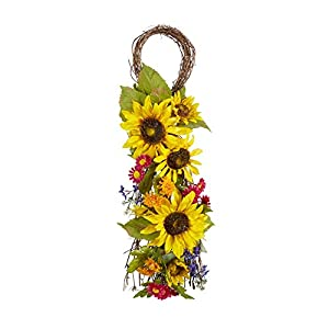 Northeast Harvest Sunflower Teardrop Front Door Wreath, 29.5-inch 108