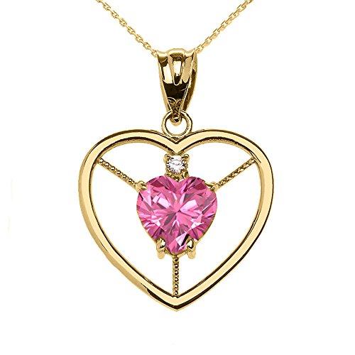 Collier Femme Pendentif Élégant 14 Ct Or Jaune Diamant et Octobre Pierre De Naissance Rose Oxyde De Zirconium Cœur Solitaire (Livré avec une 45cm Chaîne)