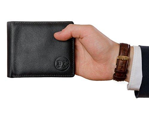 Schwarzes Herren Portemonnaie aus Echt Leder, Kreditkartenetui, Ohne Münzfach, 12 Karten- und Dokumentenfächer für Scheckkarten