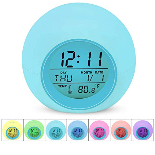 Smartideal Kids Alarm Clock [2019 Version], Wake Up LED Digital Clock for Children's Bedroom, 7 Colors Changing Light Beside Clock for Boys Girls, with Indoor Temperature,Touch Control and Snoozing