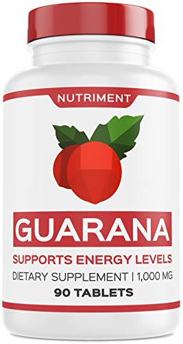 Nutriment Guarana 1000mg Supports Energy Levels and Motivation - Natural Caffeine Alternative Focus Booster Supplement 90 Tablets (Best Antidepressant For Motivation And Energy)