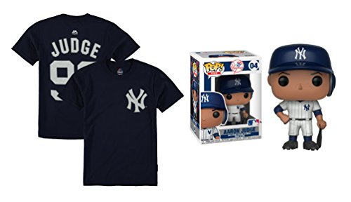 Bobble Head Doll Jersey - Outerstuff Aaron Judge New York Yankees #99 Youth Player T-Shirt with Funko Pop Figure (Youth Large 14/16)