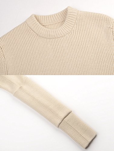 Pull Casual Manche Chandail en Longue Hauts Femme Longues Manches Blouson Shirt Col Top d'Hiver Pull Jumpers T Femme Bateau Vrac Sweater Col Rond Shirt Pull Sexy Tricot Tricot Beige Sweater YiLianDa XFBqn