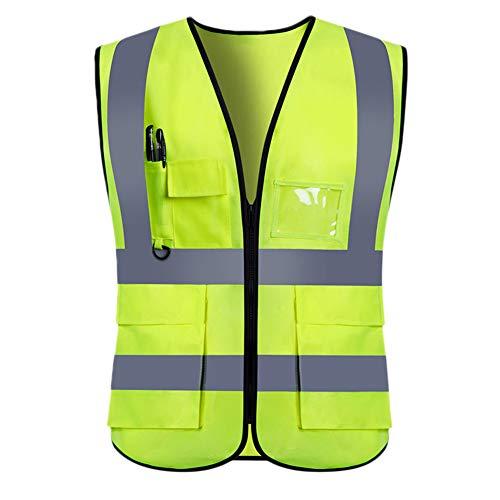 YIWA - Chaleco de Seguridad Reflectante con Cierre para Adultos, Alta Visibilidad, 5 Bolsillos
