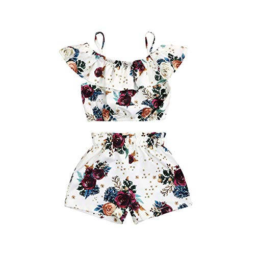 Toddler Kids Baby Girl Floral Halter Ruffled Tops+Shorts 2PCS Outfits Clothes Set (Z White, 5-6 Years Old)