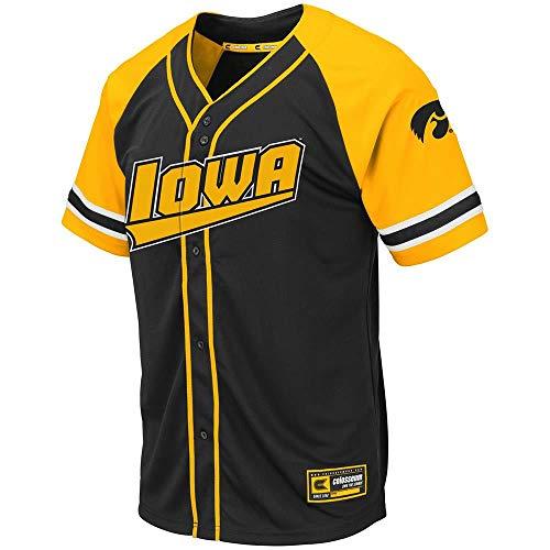 Black Iowa Hawkeyes Football Jersey - Colosseum Mens Iowa Hawkeyes Wallis Baseball Jersey - 2XL