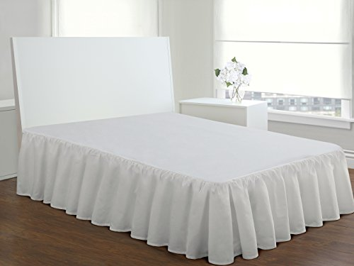 "Fresh Ideas Bedding Ruffled Bed Skirt, Classic 14"" drop length, Gathered Styling, Twin, White"