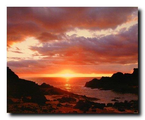 Purple Beach Sunset John Wagner Scenery Ocean Wall Decor Art Print Poster (16x20) (Gallery Poster Print)