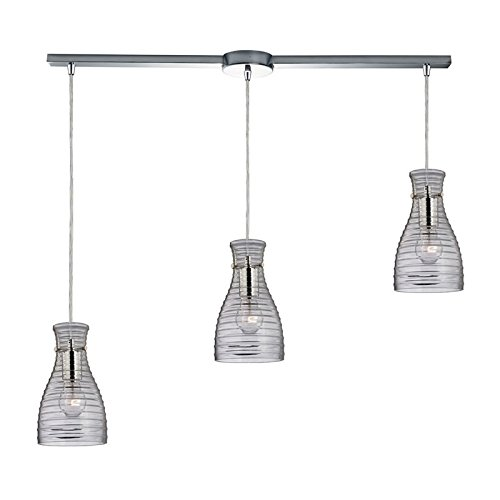 Elk Lighting 46107/3L Strata Collection 3 Light Chandelier, Polished Chrome