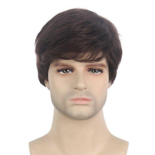 STfantasy Mens Brown Wig Male Guy Short Layered