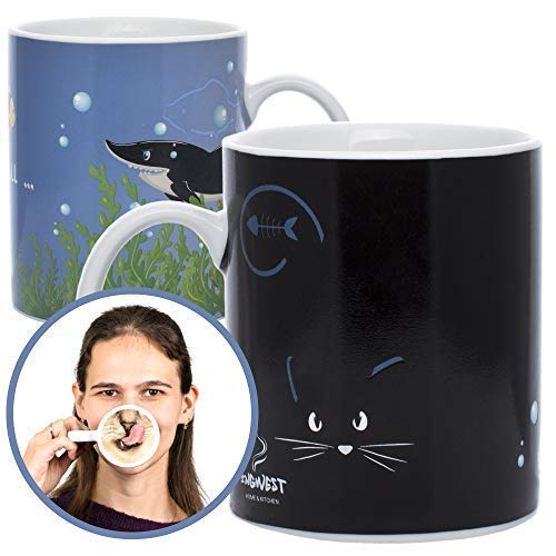 InGwest Home. Funny Coffee Mug with Cat and Funny Tongue on Bottom. 11 ounce. Changing Color Mug. Ceramic Heat Sensitive Color Changing Mug. Novelty Heat Sensitive Mug