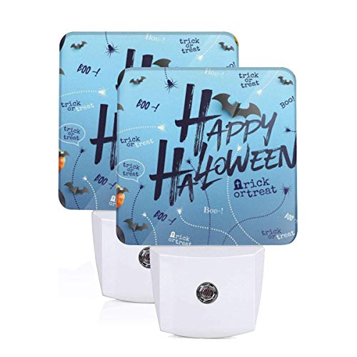 Aoccy Happy Halloween Background with Halloween Ghost Balloons Personalized 2 Pack Plug-in Night Light Soft White Light Suitable for Children's Adult Room, Hallway Bathroom