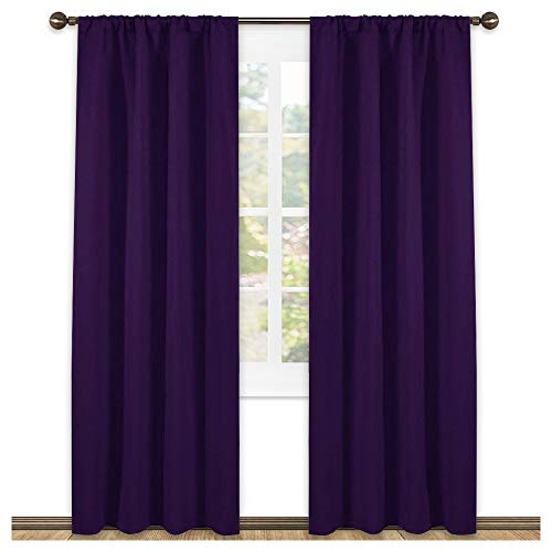 NICETOWN Blackout Draperies Curtains 84 Long - Easy Care Thermal Insulated Rod Pocket Blackout Curtains/Draperies for Patio Door - One Pair,Royal Purple,42