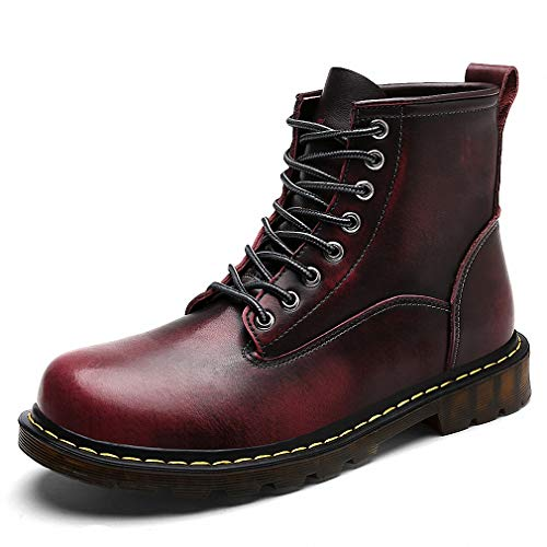 Tebapi Mens Backpacking Boots Winter Martin Boots Men Genuine Leather Warm Fur Work Ankle Boots Casual Shoes Men's Military Boots Snow Cowboy Bota Bot