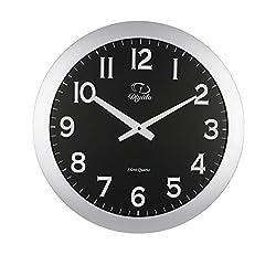 SMC 20-inch Minimalist Silent Ultra Thin Wall Clock - Silver Frame Modern Black