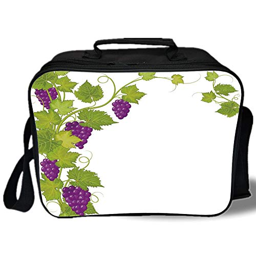 Insulated Lunch Bag,Grapes Home Decor,Latin Brochure Label Italian Town Province Vintage Menu Sign Artwork,Violet Green,for Work/School/Picnic, Grey